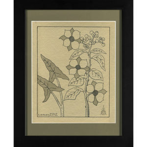 Flowering Shrub Berry Stalk Drawing India Ink on Handmade Paper with Black Frame