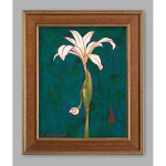 McKenzie River White Orchid Acrylic on Canvas Panel with Gold Frame