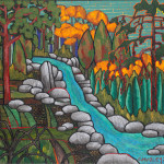 Waterfall and Evergreen Acrylic on Canvas