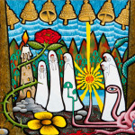 The Procession of the Nine Bells of the Universe Acrylic on Canvas