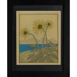Rowena Platuea WildFlower Yellow Mixed Media on Hand-made Paper