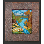 Blue Lake at Stangarten Dell Acrylic on Canvas Handmade and hammered copper