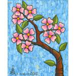 Flowering Dogwood with Blue Background