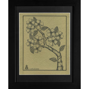 Flowering Dog Wood Black Frame India Ink on Handmade paper