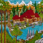 House Minaret Mixed Media on Canvas